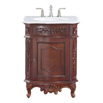 Winslow 26 in. W x 22 in. D Bath Vanity in Antique Cherry with Vanity Top in White Marble with White Basin