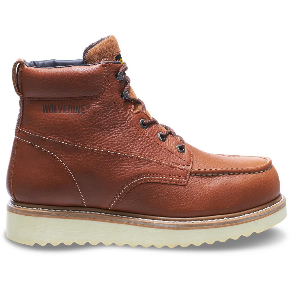 "Men's Work Wedge 8M Tan Full-Grain Leather Steel Toe 6"" Boot"