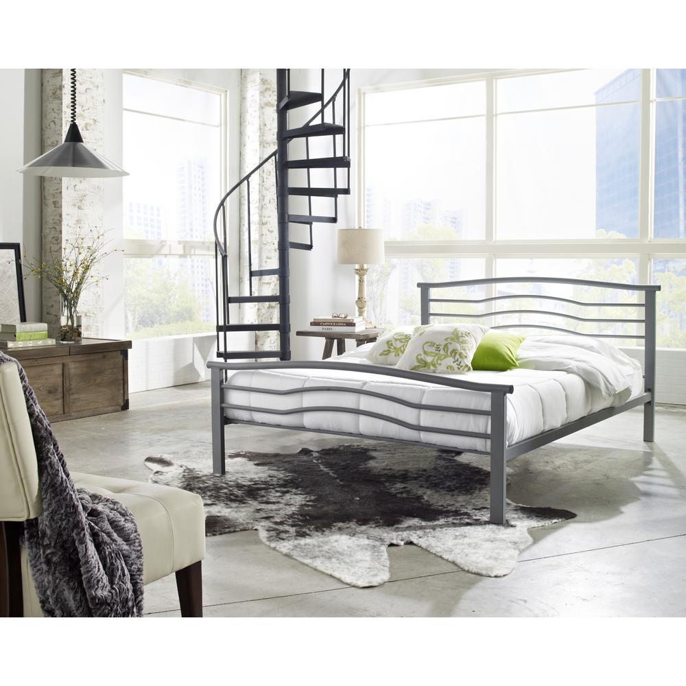 Gastonia Matte Grey Full Platform Bed