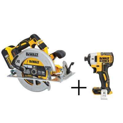 7-1/4 in. 20-Volt MAX XR Lithium-Ion Cordless Circular Saw with Free Impact Driver