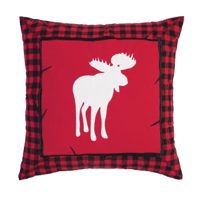 Buffalo Check Moose Red Pillow 18 in. x 18 in.