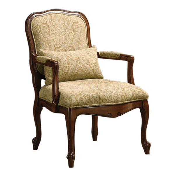 Waterville Traditional Brown and Beige with Pillow Accent Fabric Chair