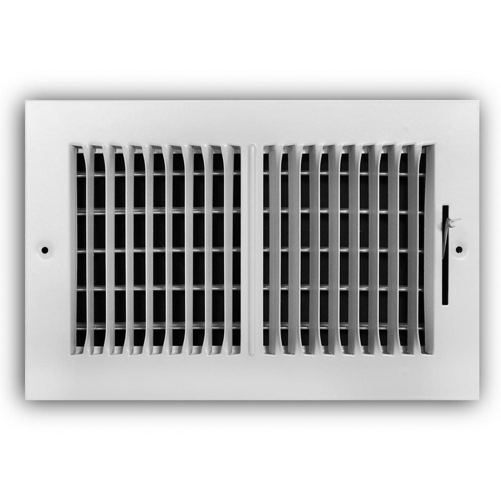 10 in. x 6 in. 2-Way Steel Wall/Ceiling Register in White