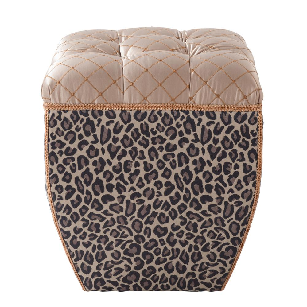 Jan Brown and Beige Ottoman