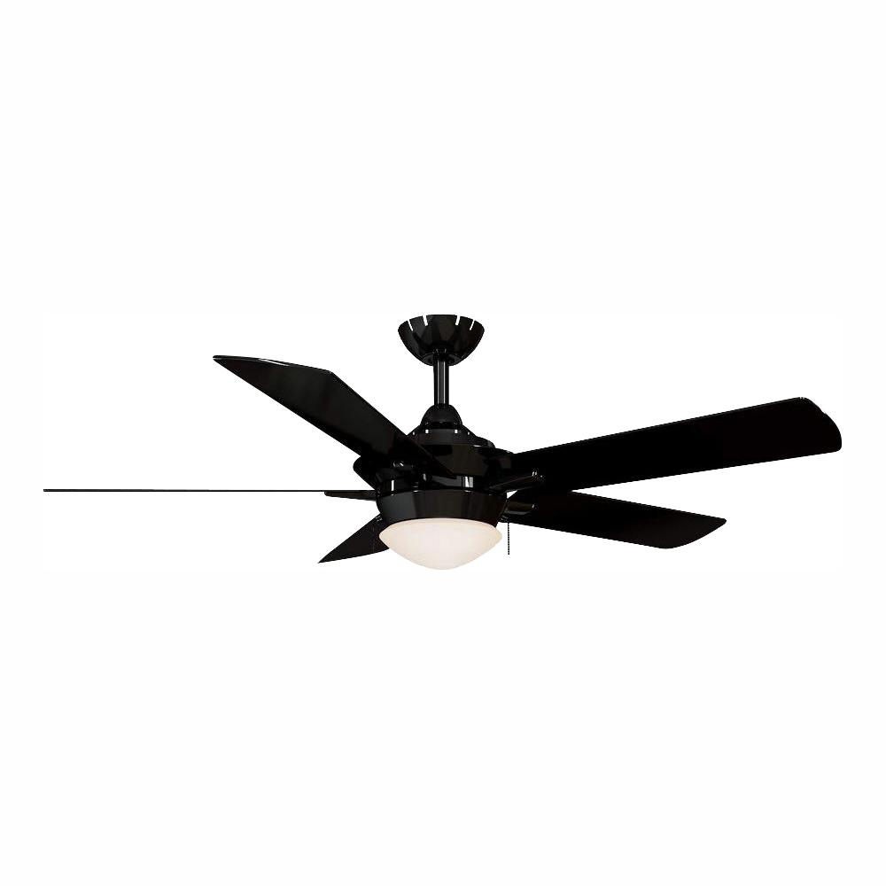 Home Decorators Collection Edgemont 52 in. LED Indoor Glossy Black Ceiling Fan with Light Kit