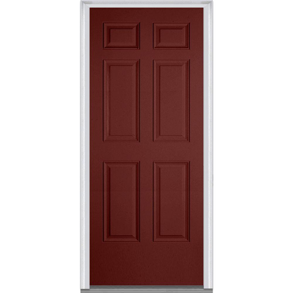 Mmi door 30 in x 80 in left hand inswing 6 panel classic for Prehung entry door with storm door