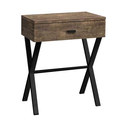 Jasmine 22.25 in. Brown, Black, Particle Board, Metal - Accent Table
