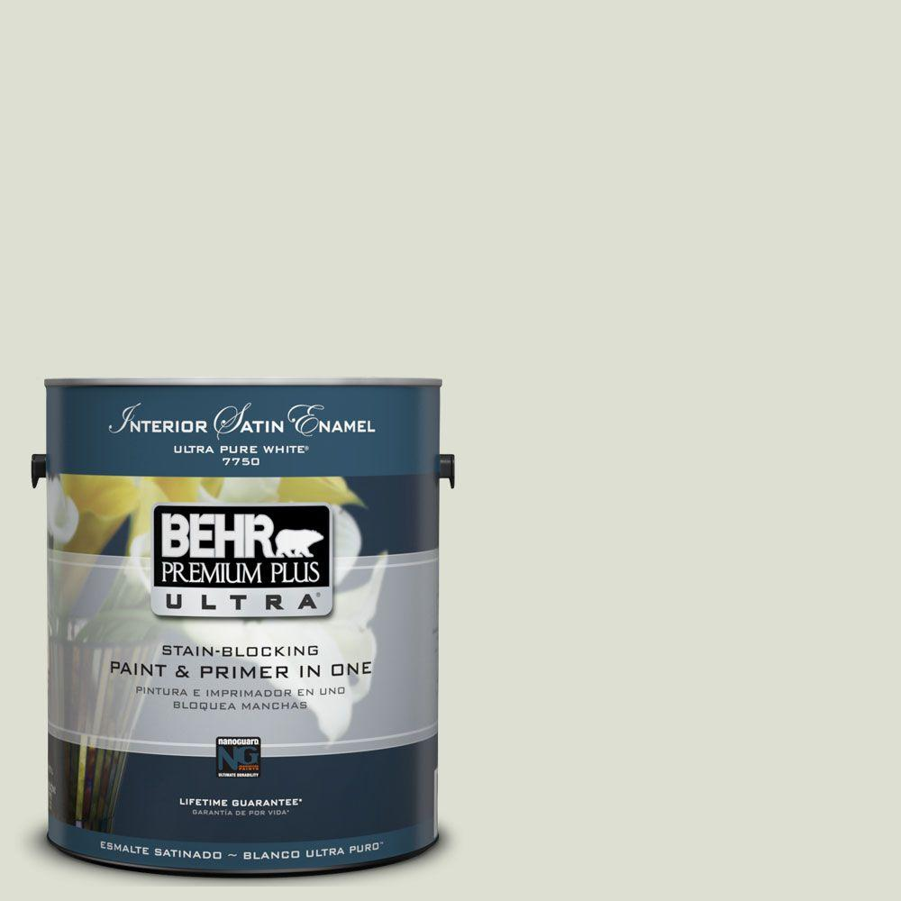 BEHR Premium Plus Ultra 1-Gal. #UL210-10 Whitened Sage Interior Satin Enamel Paint