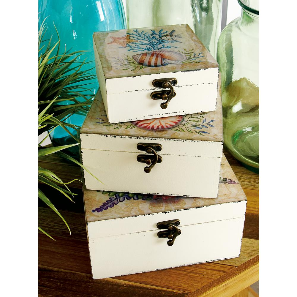 Coastal Living Square Wood and Glass Keepsake Boxes (Set of 3)