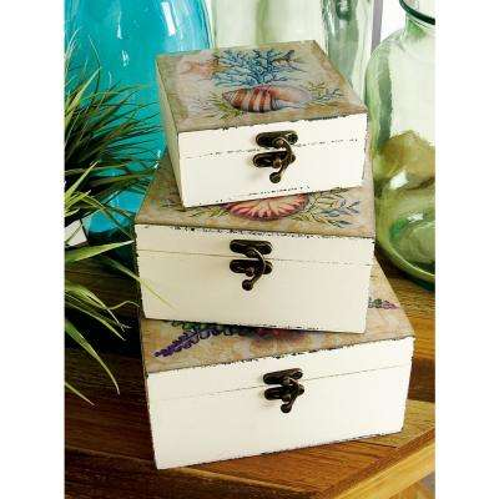Coastal Living Square Wood and Glass Keepsake Boxes (Set of 3)
