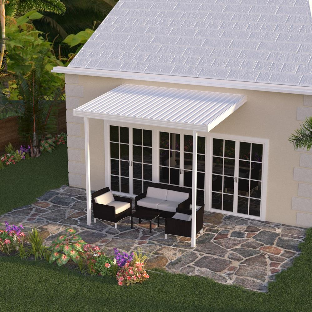 White Aluminum Attached Solid Patio Cover with 2