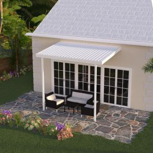 Integra 22 ft  x 10 ft  White Aluminum Attached Solid Patio Cover