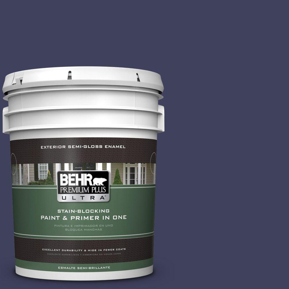 BEHR Premium Plus Ultra 5-gal. #PMD-92 Darkest Navy Semi-Gloss Enamel Exterior Paint
