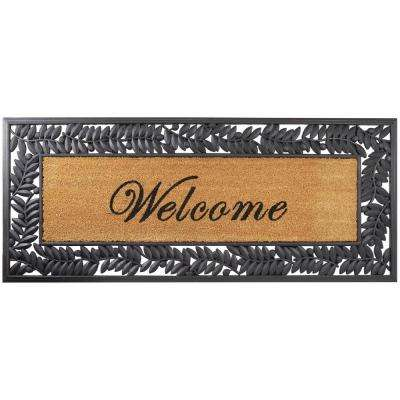 Leaves with Welcome Coir Insert 57 in. x 24 in. Wrought Iron Door Mat