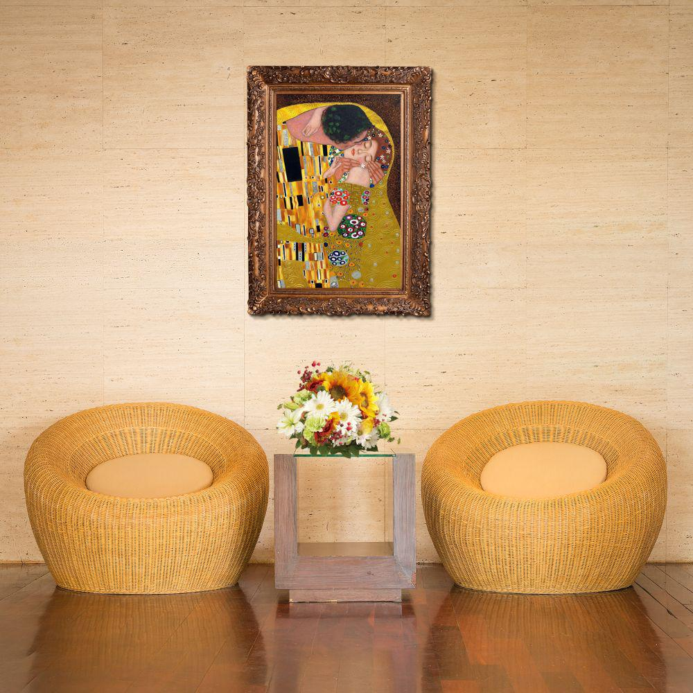 LA PASTICHE 46 in. x 34 in. The Kiss (Luxury Line) with Burgeon Gold Frame by Gustav Klimt Framed Wall Art, Multi-Colored was $1501.0 now $704.64 (53.0% off)