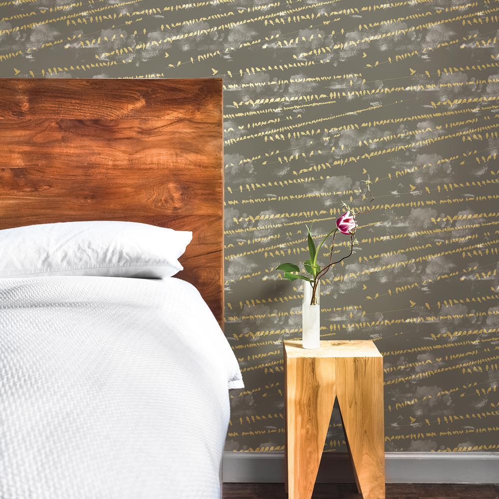 Tempaper Wallpaper: Tempaper Storm Grey Flock Wallpaper-FL086