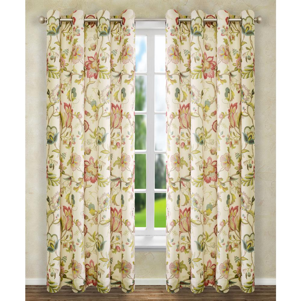 L Polyester Floral Lined Grommet Panel in