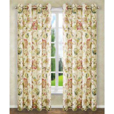 Brissac 50 in. W x 84 in. L Polyester Floral Lined Grommet Panel in Red
