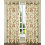 Brissac 50 in. W x 63 in. L Polyester Floral Lined Grommet Panel in Red
