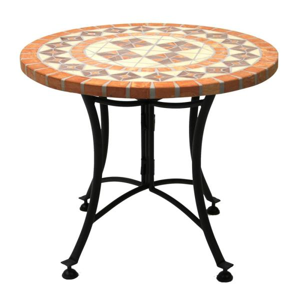 Round Terra Cotta Metal Outdoor Accent Table