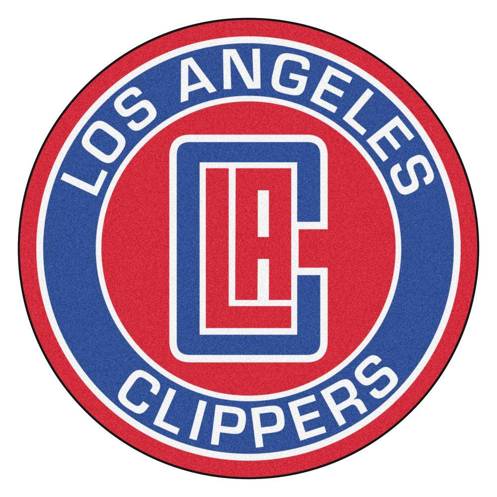 FANMATS NBA Los Angeles Clippers Blue 2 ft. x 2 ft. Round Area Rug