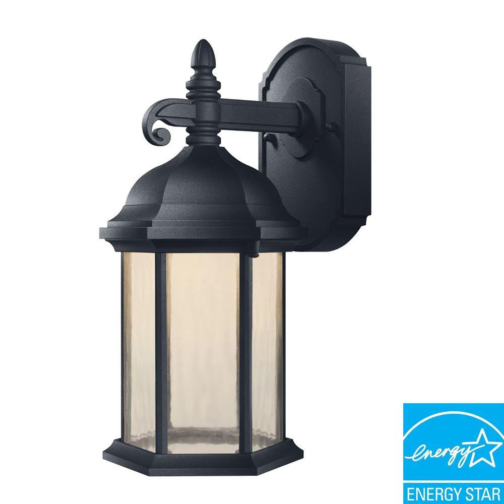 Hampton Bay Oxford Collection Black Outdoor LED Wall Lantern