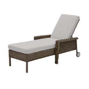 Laguna Point Brown Wicker Outdoor Patio Chaise Lounge with CushionGuard Stone Gray Cushions
