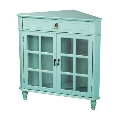 Shelly Assembled Turquoise Wood 31 in. x 31 in. x 17 in. Glass Corner Pantry/Utility Cabinet with a Drawer