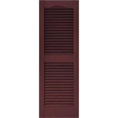 15 in. x 43 in. Louvered Vinyl Exterior Shutters Pair in #167 Bordeaux