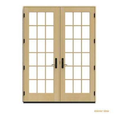72 in. x 96 in. W-4500 Black Clad Wood Left-Hand 18 Lite French Patio Door w/Unfinished Interior