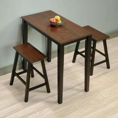 Beginnings 3-Piece Cherry and Black Bar Table Set