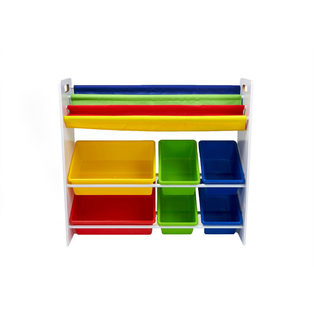 Mind Reader White Wood With Toy Storage Book Shelf