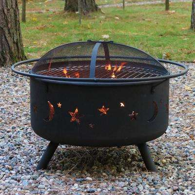 Cosmic 30 in. x 20 in. Round Bronze Steel Wood Burning Fire Pit with Cooking Grill and Spark Screen