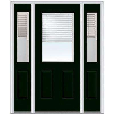 64 in. x 80 in. Internal Blinds Right-Hand Inswing 1/2-Lite Clear Painted Steel Prehung Front Door with Sidelites