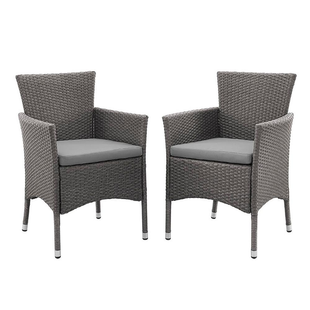 walker edison furniture company grey rattan outdoor dining chair with grey cushions set of 2