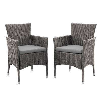Grey Rattan Outdoor Dining Chair with Grey Cushions (Set of 2)