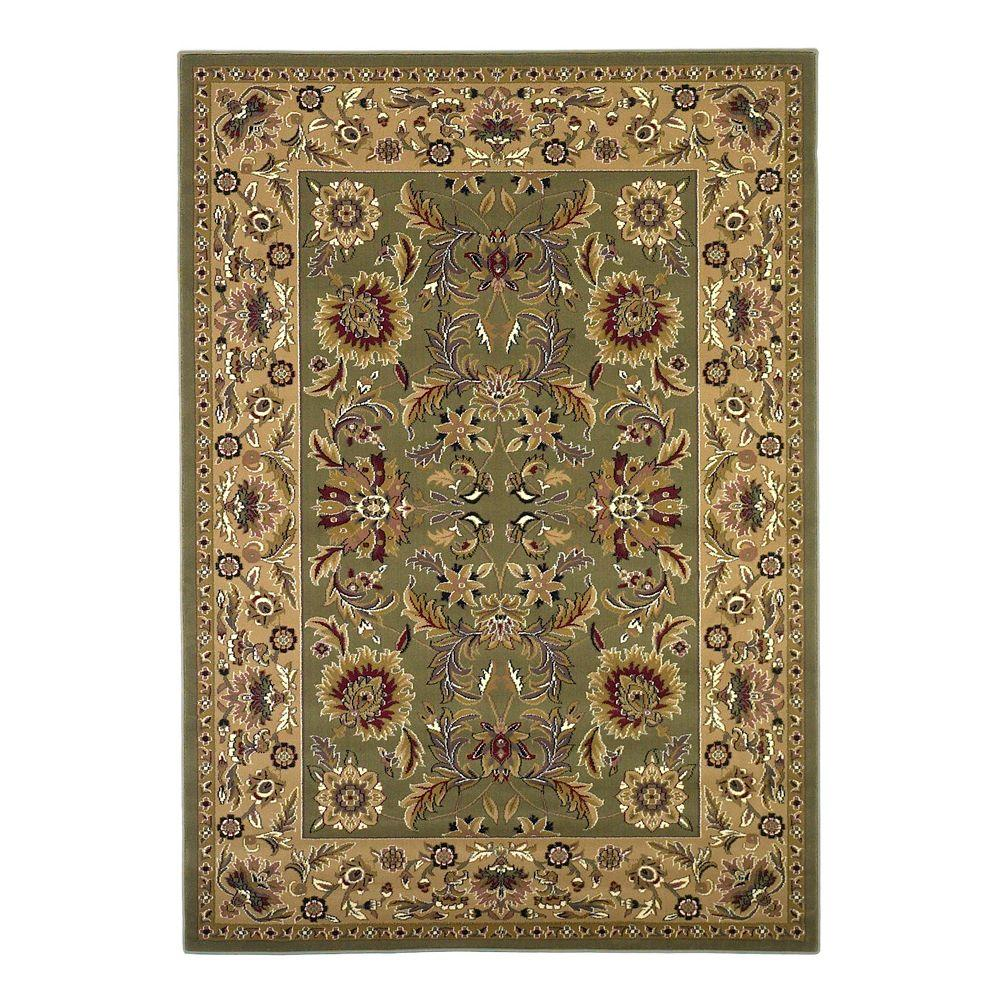 Kas Rugs Classic Kashan Green/Taupe 3 ft. 3 in. x 4 ft. 11 in. Area Rug