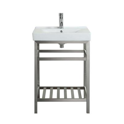 Stone 24 in. W x 19 in. D x 24 in. H Vanity in Stainless Steel with Porcelain Top in White with White Basin