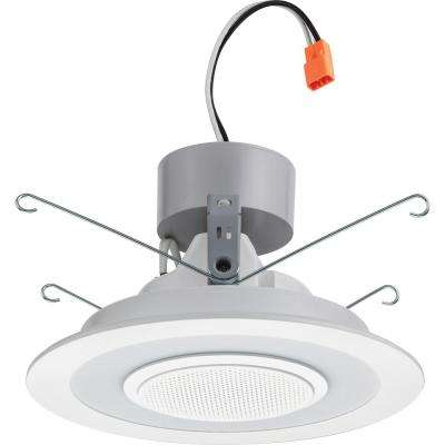6 in. White Integrated LED Recessed Trim with Integrated Speaker