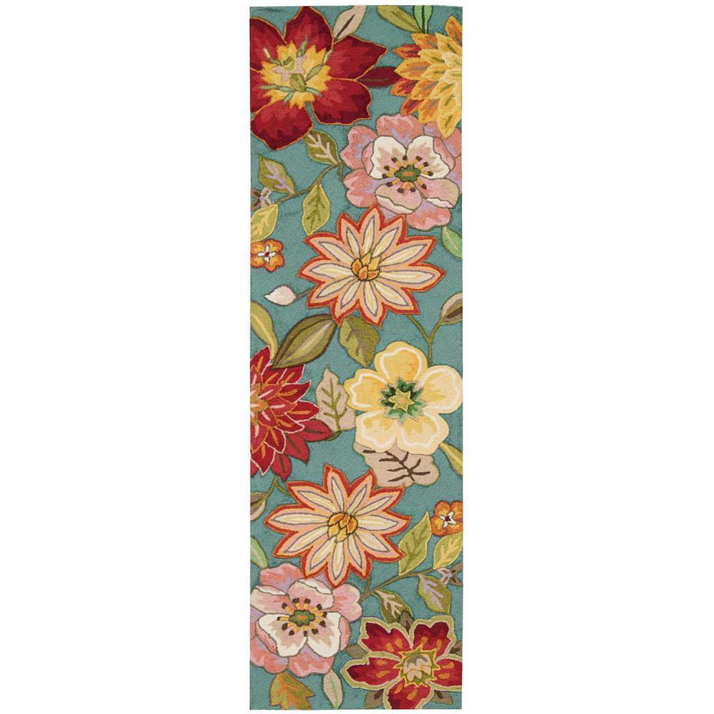 Spring Blossom Aqua 2 ft. x 8 ft. Runner Rug