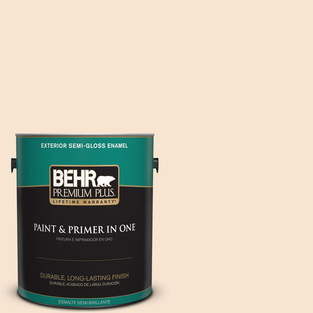 BEHR Premium Plus 1-gal. #OR-W3 Mannequin Cream Semi-Gloss Enamel Exterior Paint
