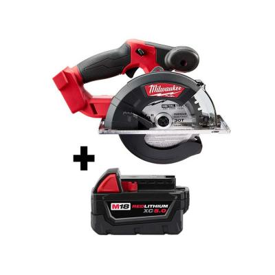 M18 FUEL 18-Volt Lithium-Ion Brushless Cordless 5-3/8 in. Circular Metal Saw with Free M18 5.0Ah Battery