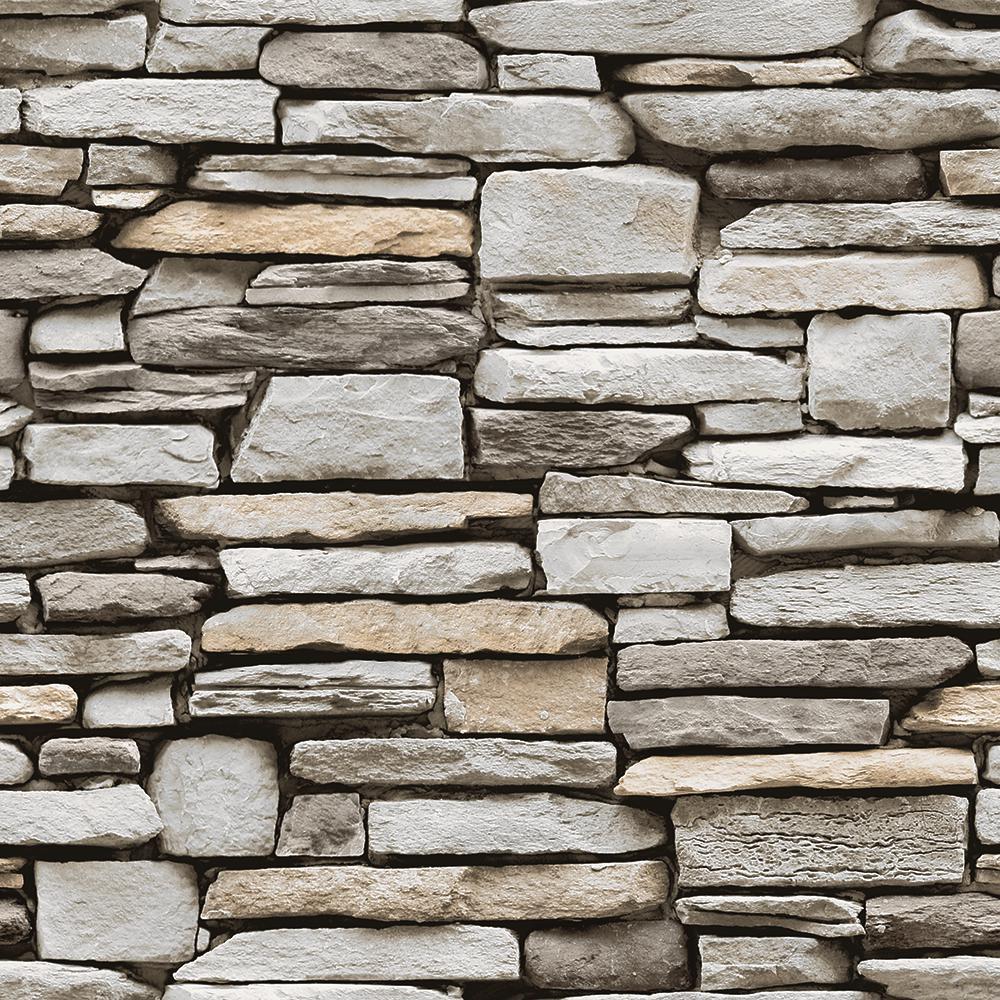 Grey Stone Multi Peel and Stick Wallpaper 56 sq. ft.