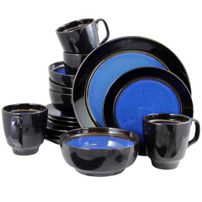 Bella Galleria 16-Piece Blue Reactive Glaze Dinnerware Set