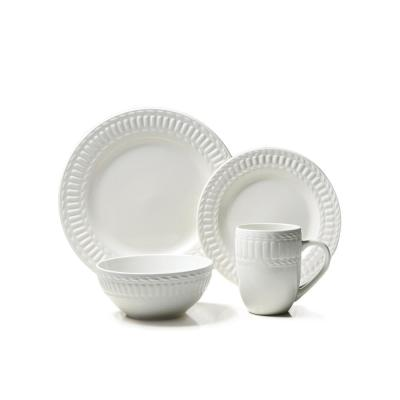 16-Piece Casual Off White Stoneware Dinnerware Set (Service for 4)