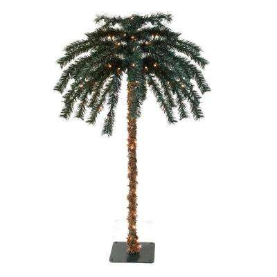 6 ft. Pre-Lit Tropical Outdoor Summer Patio Artificial Palm Tree and Clear Lights