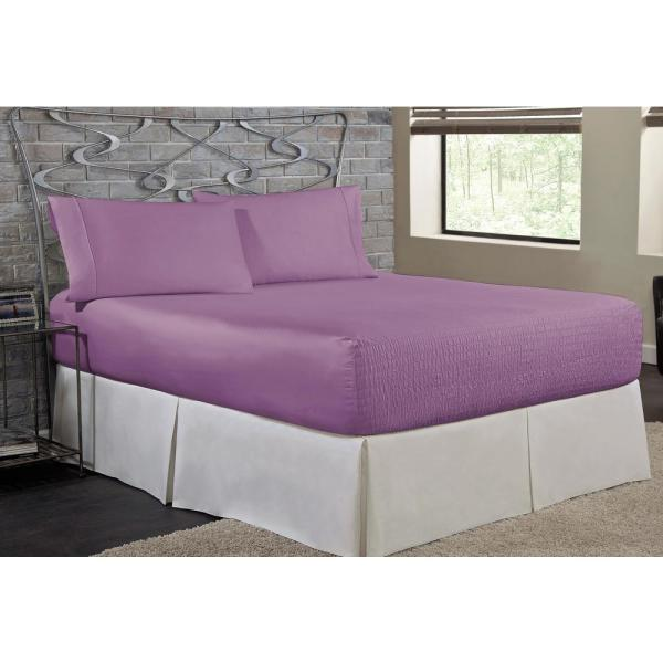 undefined Bed Tite Microfiber 3-Piece Lilac Solid 200 Thread Count Microfiber Twin Sheet Set