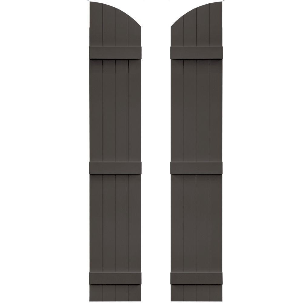14 in. x 81 in. Board-N-Batten Shutters Pair, 4 Boards Joined with Arch Top #018 Tuxedo Grey