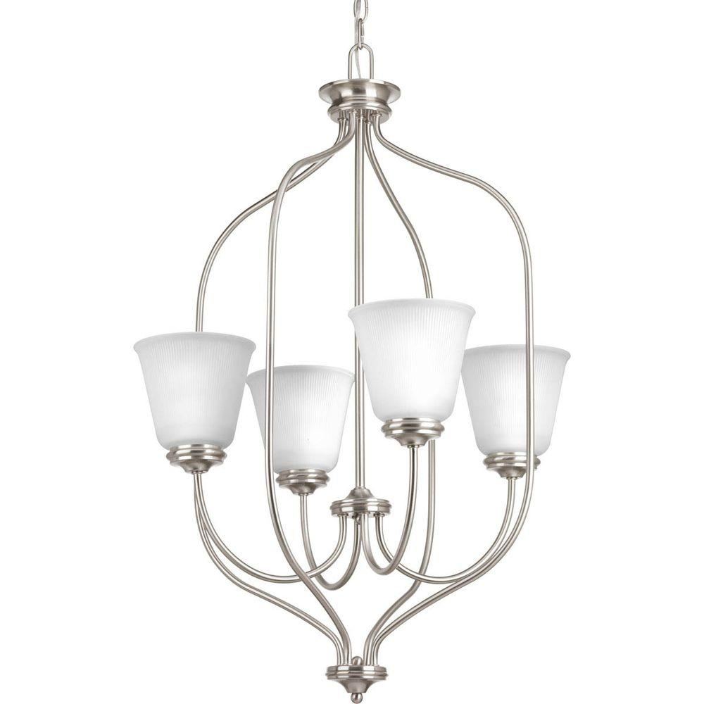 Nickel Foyer Chandelier : Progress lighting keats collection light brushed nickel