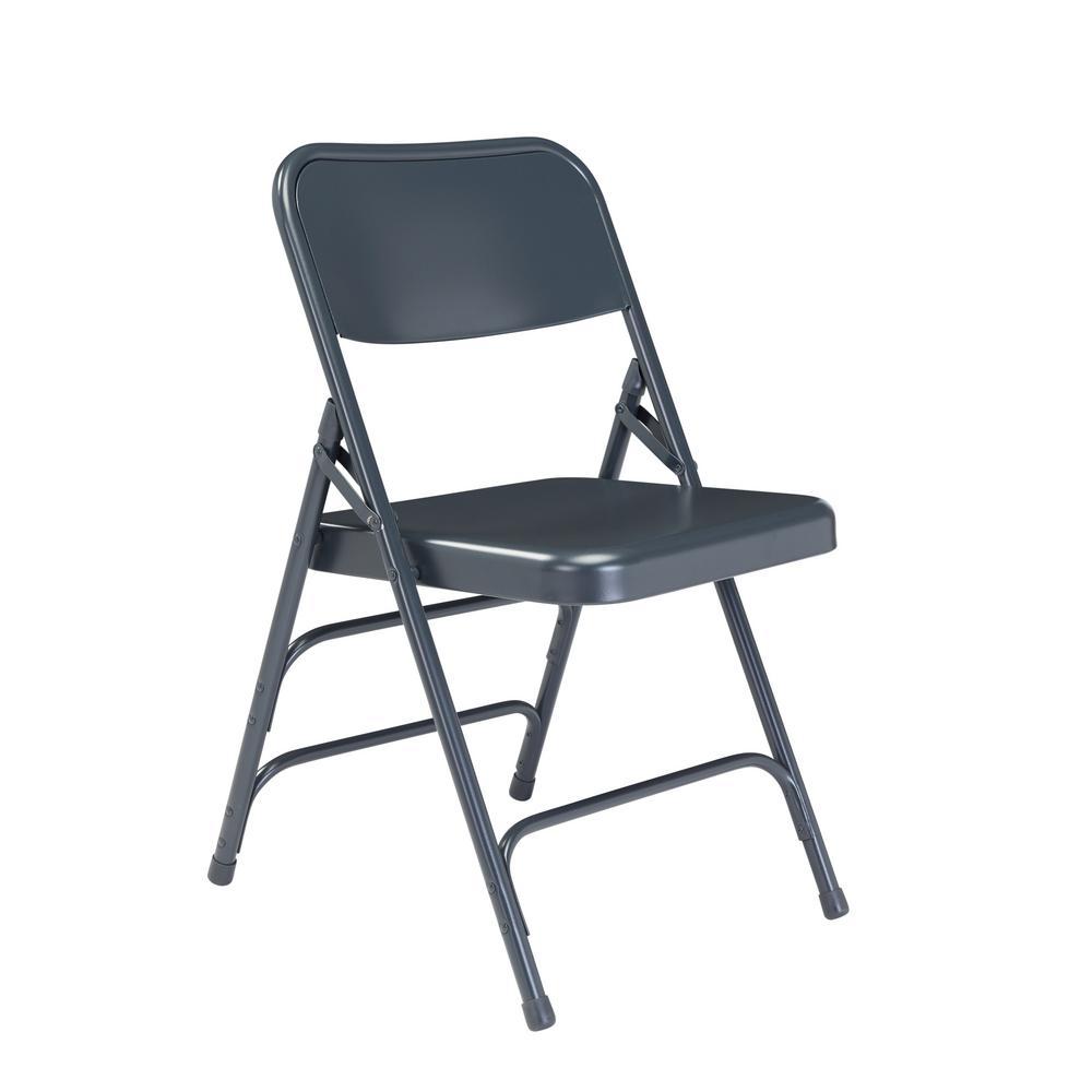 NPS 300 Series Premium Blue All-Steel Triple Brace Folding Chair (Pack of 4)
